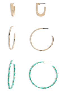 Brass Plum Beaded Mixed Hoop Earrings Set