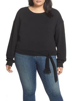 Brass Plum Belted Fleece Sweatshirt
