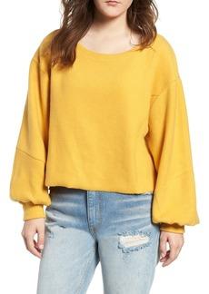 Brass Plum Blouson Sleeve Fleece Pullover