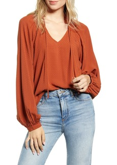 Brass Plum Tie Neck Balloon Sleeve Blouse