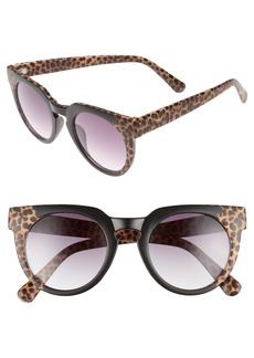 BP. 47mm Animal Print Round Sunglasses
