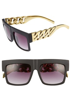 Brass Plum BP. 52mm Chain Detail Shield Sunglasses