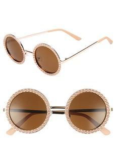 BP. 55mm Imitation Pearl Round Sunglasses