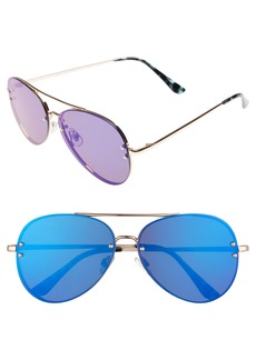 Brass Plum BP. 60mm Oversize Mirrored Aviator Sunglasses