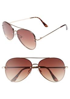 Brass Plum BP. 60mm Oversize Mirrored Aviator Sunglasses