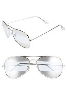 Brass Plum BP. 60mm Tri-Tone Metal Aviator Sunglasses