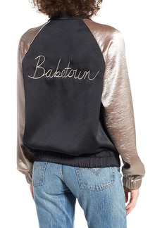 Brass Plum BP. Babetown Colorblock Satin Bomber