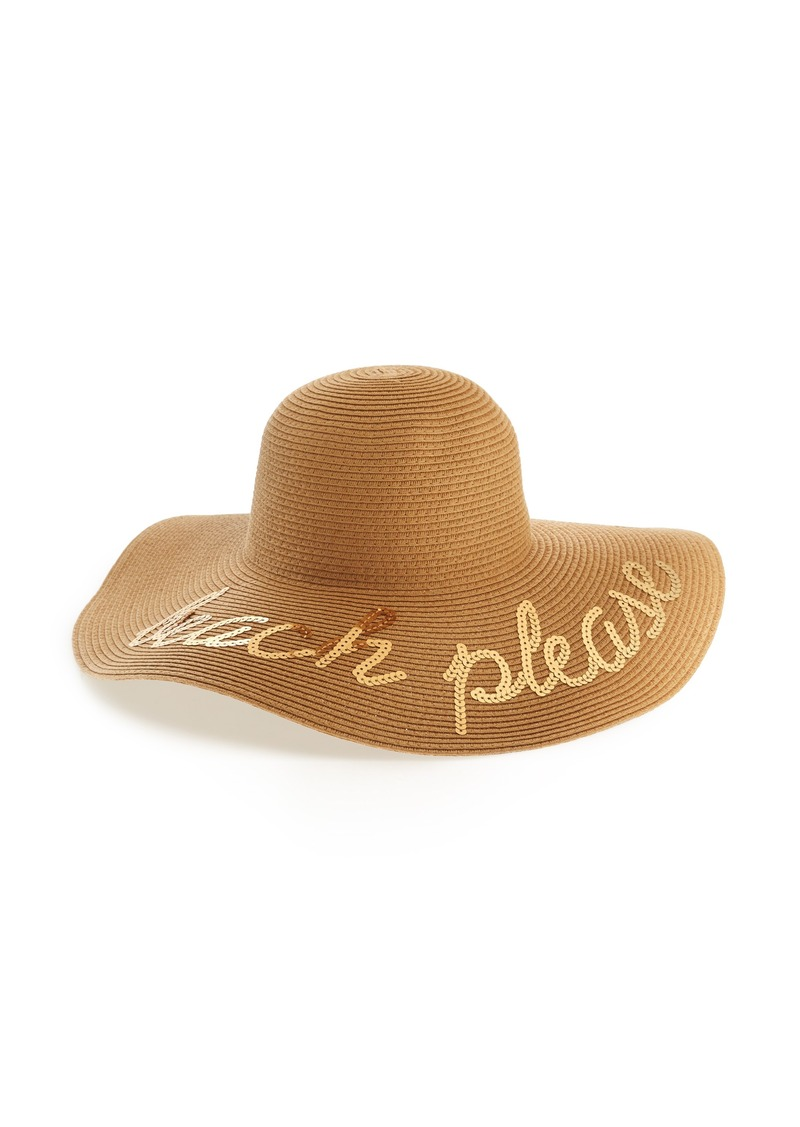 3b85f41abc562 Brass Plum BP. Beach Please Sequin Floppy Straw Hat