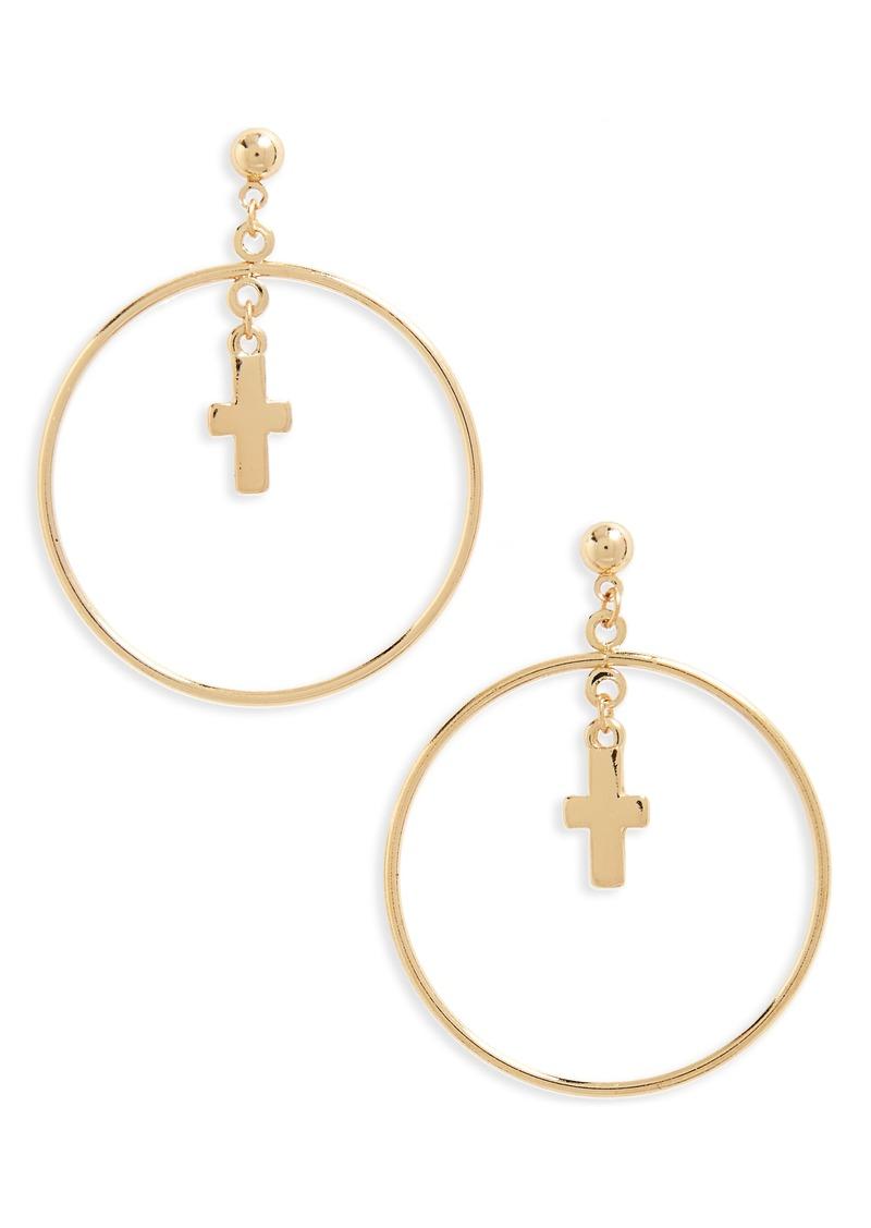 Brass Plum BP. Circle Cross Earrings