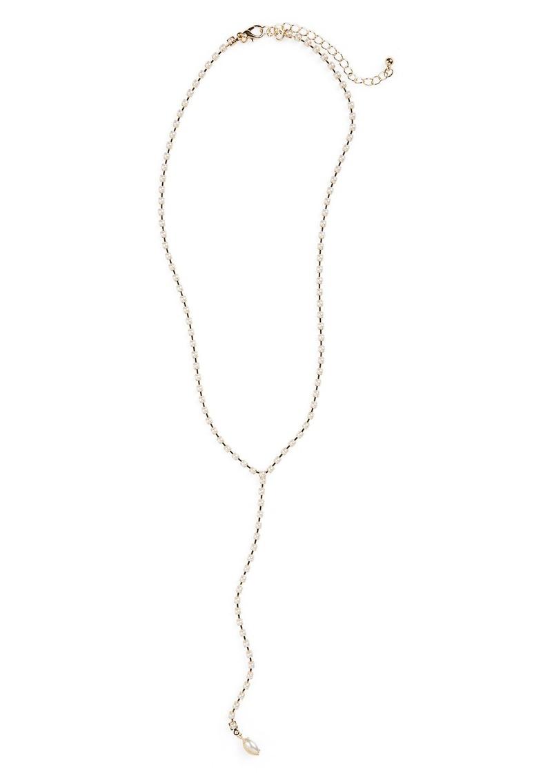 Brass Plum BP. Faux Pearl Lariat Necklace