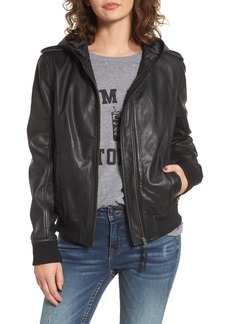 BP. Hooded Leather Flight Jacket
