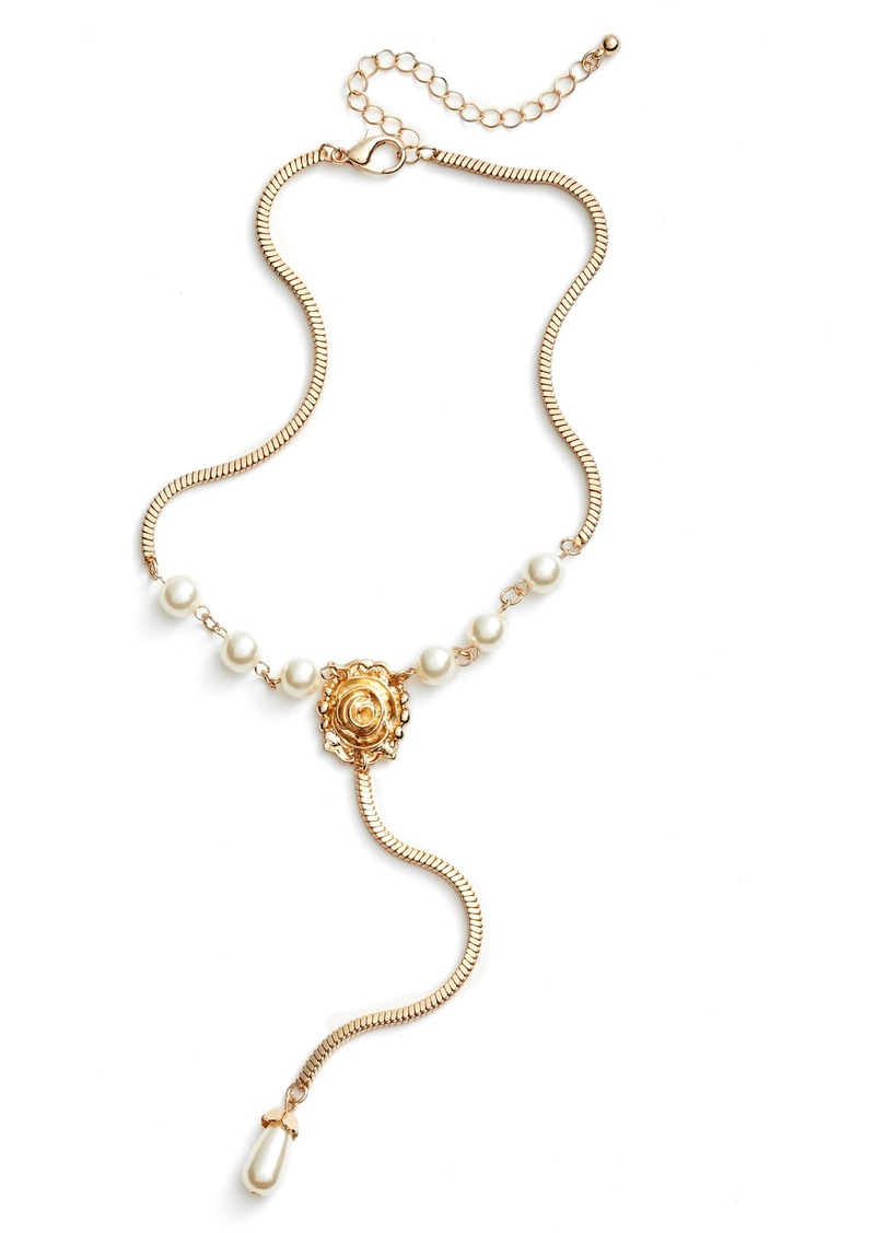 brass plum bp imitation pearl flower drop necklace