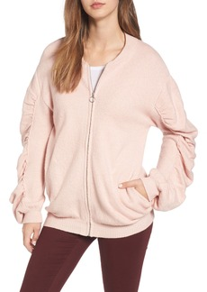 Brass Plum BP. Knit Ruched Sleeve Bomber