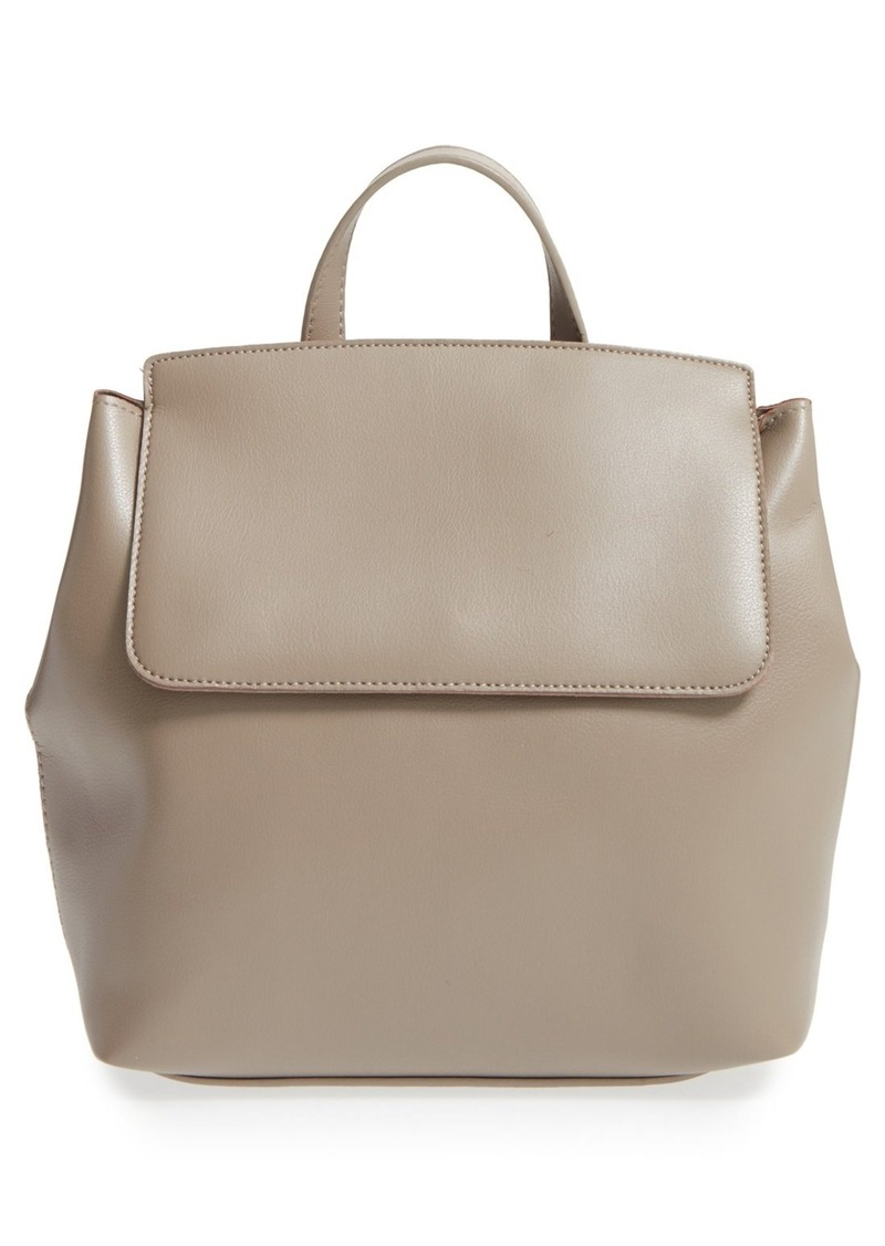 Brass Plum BP. 'Minimal Flap' Faux Leather Backpack