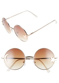 BP. Moon Star 54mm Round Metal Moon & Star Charm Sunglasses