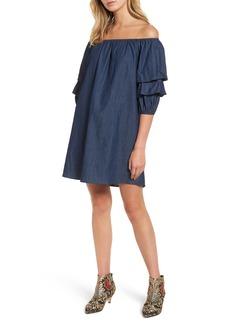 BP. Off the Shoulder Denim Dress