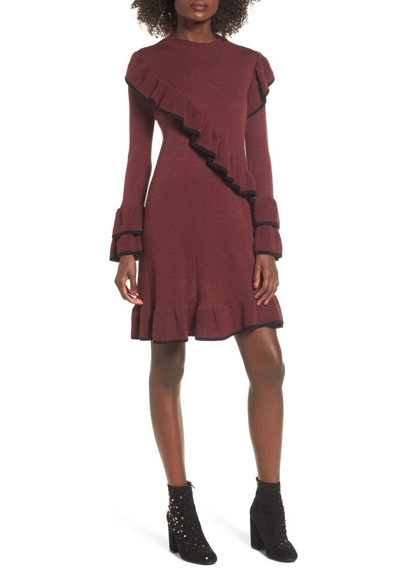 Brass Plum BP. Ruffle Knit Sweater Dress