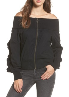 BP. Ruffle Off the Shoulder Bomber