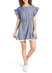 Brass Plum BP. Ruffle Trim Stripe Cotton Shift Dress