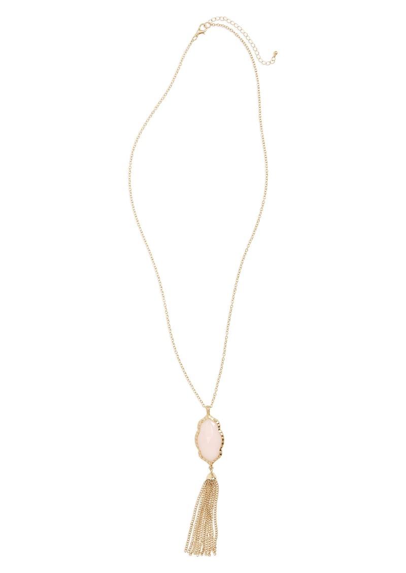 brass plum bp stone fringe pendant necklace jewelry