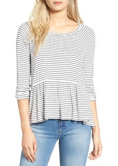 Brass Plum BP. Stripe Peplum Tee
