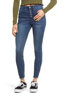 Brass Plum Button Fly Skinny Jeans