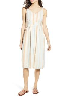 Brass Plum Button Front Stripe Dress (Plus Size)