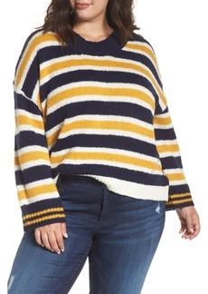 Brass Plum Button Shoulder Stripe Sweater (Plus Size)