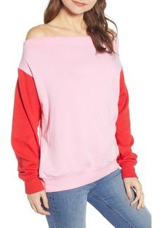 Brass Plum Colorblock Fleece Sweatshirt