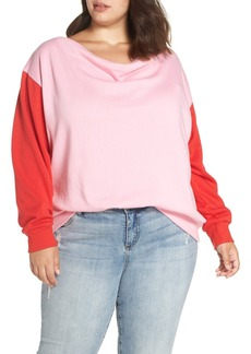 Brass Plum Colorblock Fleece Sweatshirt (Plus Size)
