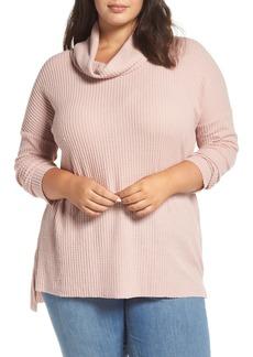 Brass Plum Cowl Neck Waffle Knit Tunic (Plus Size)
