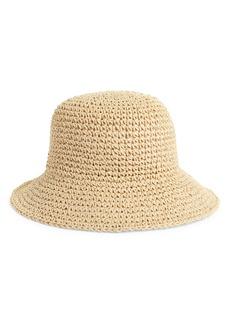 Brass Plum Crochet Straw Bucket Hat