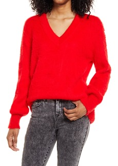 Brass Plum Deep V-Neck Fuzzy Tunic Sweater