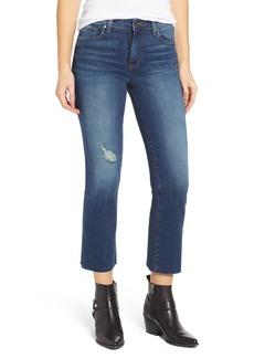 Brass Plum Distressed High Waist Crop Flare Jeans (Dark Vintage)