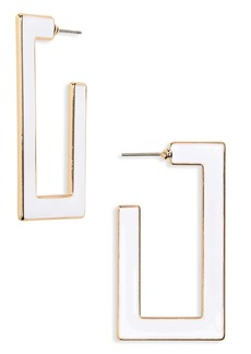 Brass Plum Enameled Rectangle Hoop Earrings