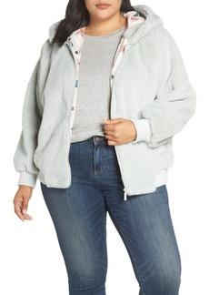 Brass Plum Faux Fur Hooded Jacket (Plus Size)