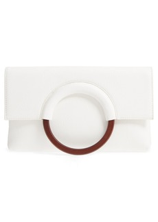 Brass Plum Faux Leather Circle Clutch