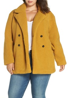 Brass Plum Faux Shearling Double Breasted Teddy Coat (Plus Size)