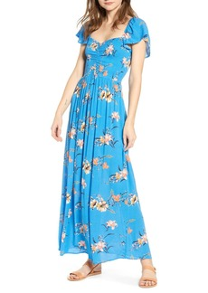 Brass Plum Floral Smocked Bodice Maxi Dress (Regular & Plus Size)