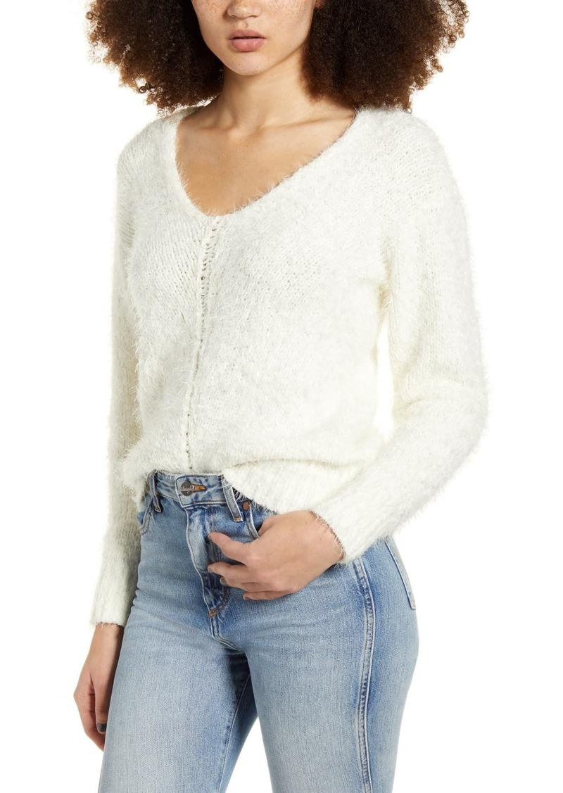 Brass Plum V-Neck Eyelash Chenille Sweater