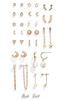 Brass Plum Gold Tone Stud & Drop Earring Pack - 18 Set Pack