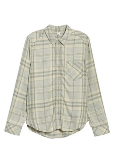 Brass Plum Heathered Plaid Shirt