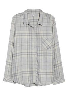 Brass Plum Heathered Plaid Shirt (Plus Size)
