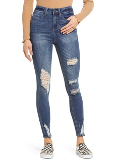 Brass Plum Deconstructed High Rise Skinny Jeans
