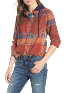 Brass Plum Hooded Plaid Shirt