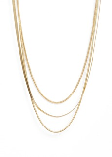 Brass Plum Layered Snake Chain Necklace