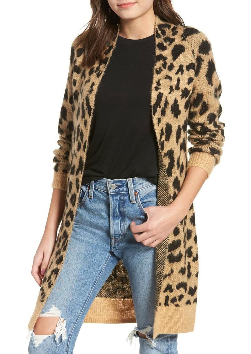 Brass Plum Long Leopard Jacquard Cardigan (Regular & Plus Size)