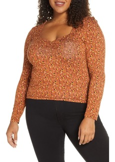 Brass Plum Long Sleeve Cinch Front Ribbed Tee