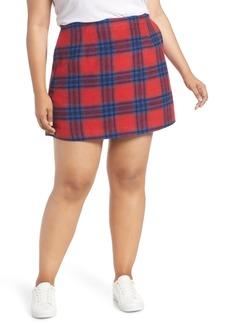 Brass Plum Melton Plaid Miniskirt (Plus Size)