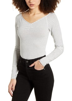 Brass Plum Metallic Stripe Top